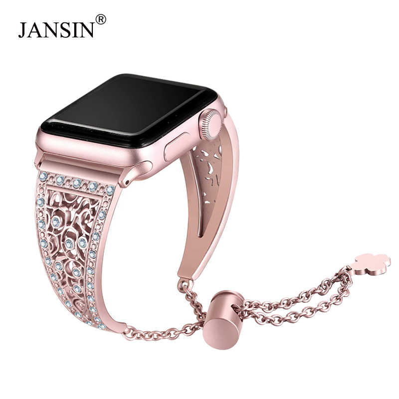 JANSIN Women Diamond Band For Apple Watch Series 4/3/2/1 Bracelet stainless steel strap for iWatch 38mm 42mm 40mm 44mm Wristband