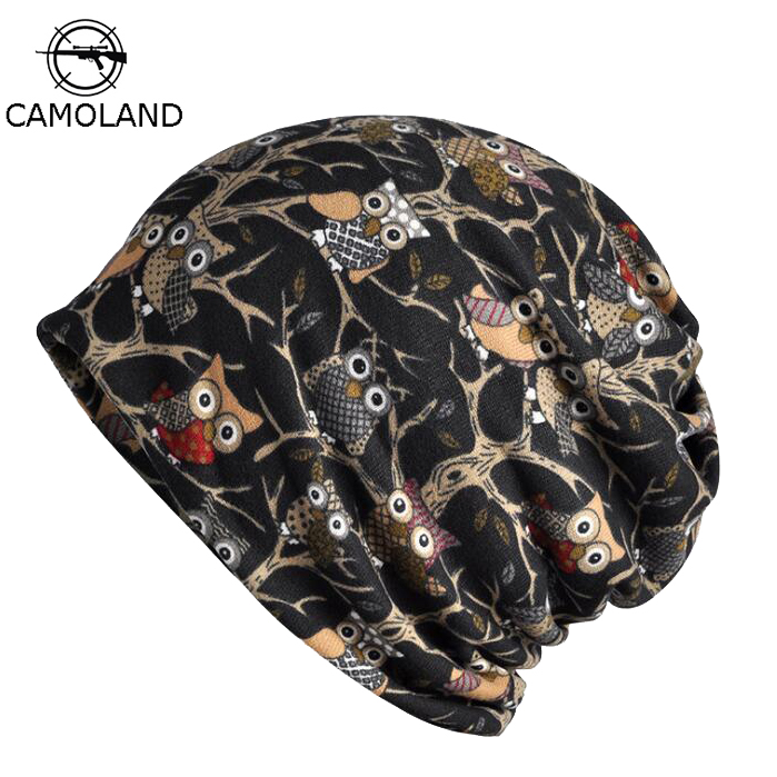 2019 Cotton Men's Spring Summer   Beanies   for Women Hat Thin Lightweight Helmet Liner Slouchy Baggy Hiphop Animal Owl   Skullie
