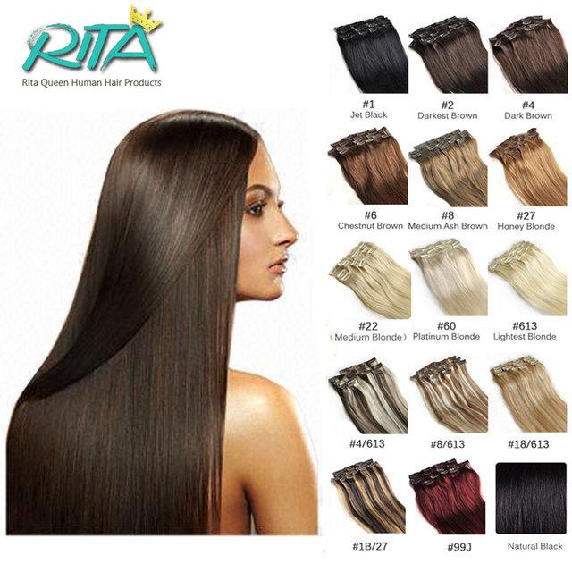 18 Color 100% Humano Grampo Em Extensões Do Cabelo 70g 7 pçs/set 140g 10 pçs/set Reta Clipe Malaio Em Extensões de cabelo Venda Quente
