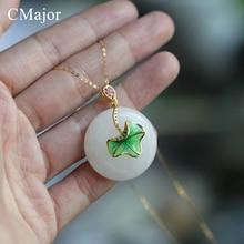 CMajor Delicate Round Natural Stone Necklaces For Women Retro Cloisonne Enamel Lotus Leaf Gold/Silver Color Chain Necklace