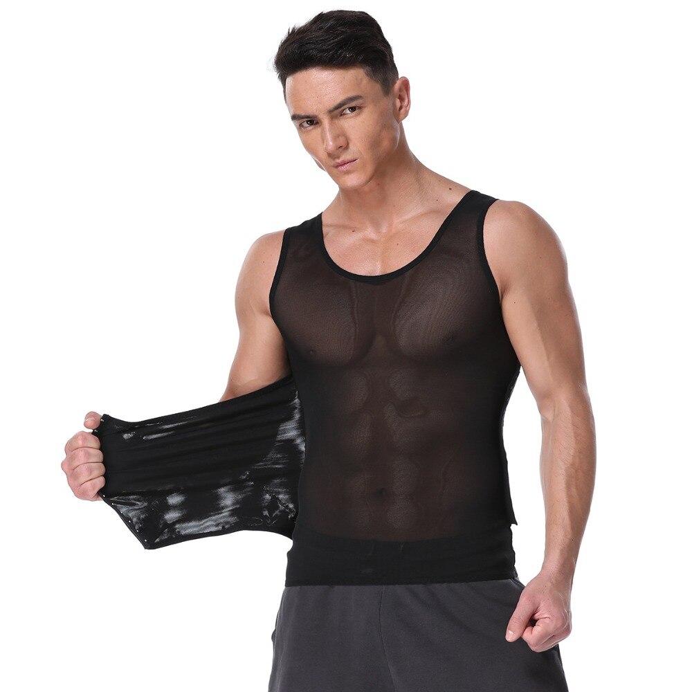 New Men Body Shaper Slimming Waist Cincher Vest Three-Breasted Stretch Mesh Corset Abdomen Belly Fatty Bust Underwear