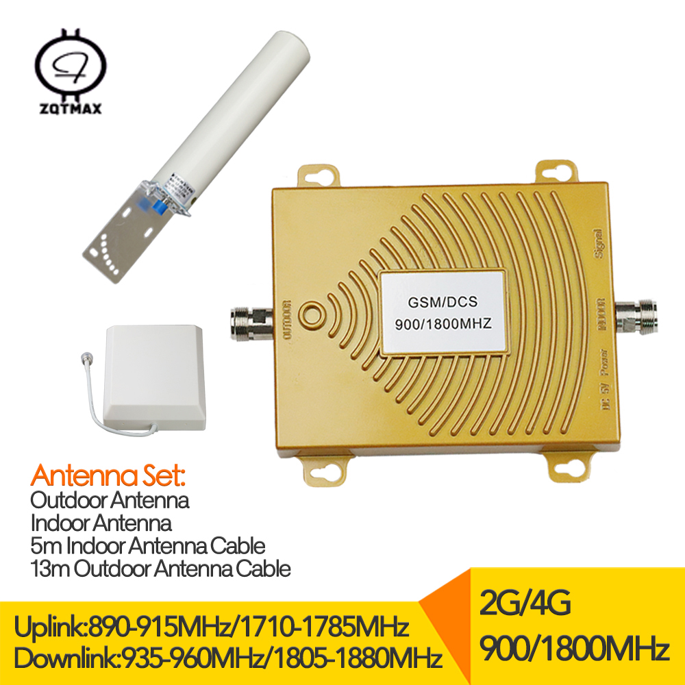 4G LTE 1800 B3 GSM 900MHz Dual Band Cellular Signal Repeater 2g Amplifier Booster Gain 65dB Moblie Booster With Antenna Set