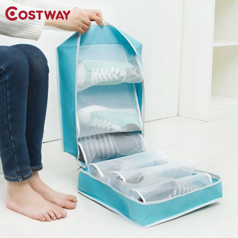 COSTWAY Dustproof Oxford Portable Folding Shoes Storage Bag Travel Tote Zipper Pouch Waterproof Organizer U0815