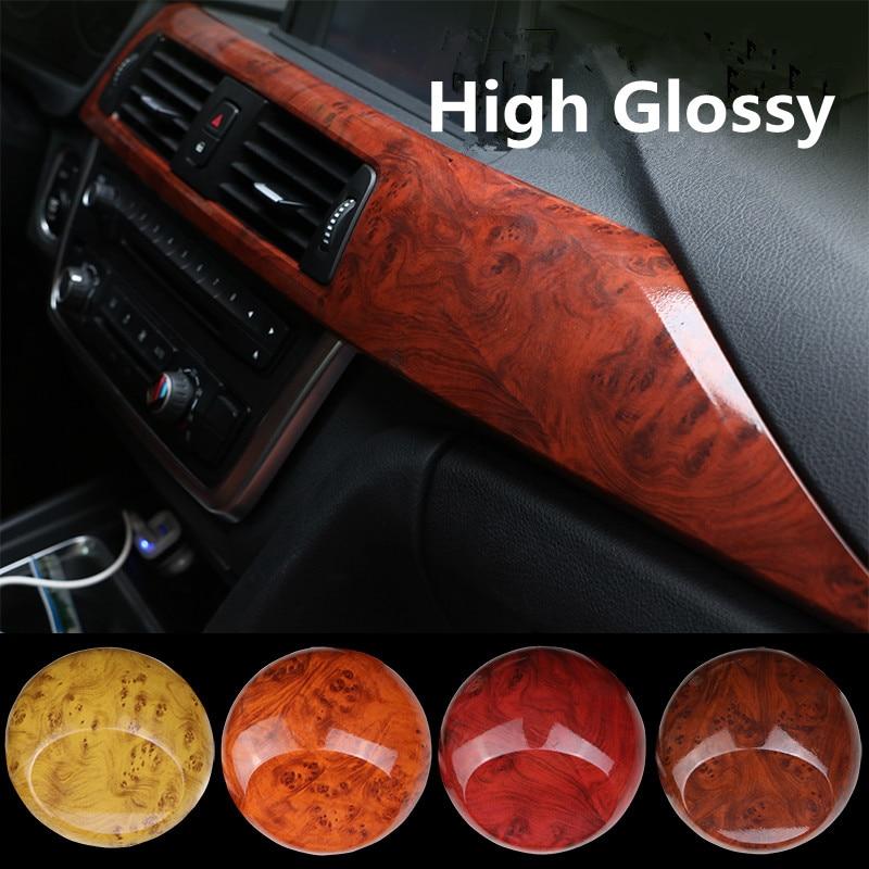 Hot sale High Glossy Car Interior Wood Textured Grain Vinyl Wrap Sticker Decals 0.3mx1.24m