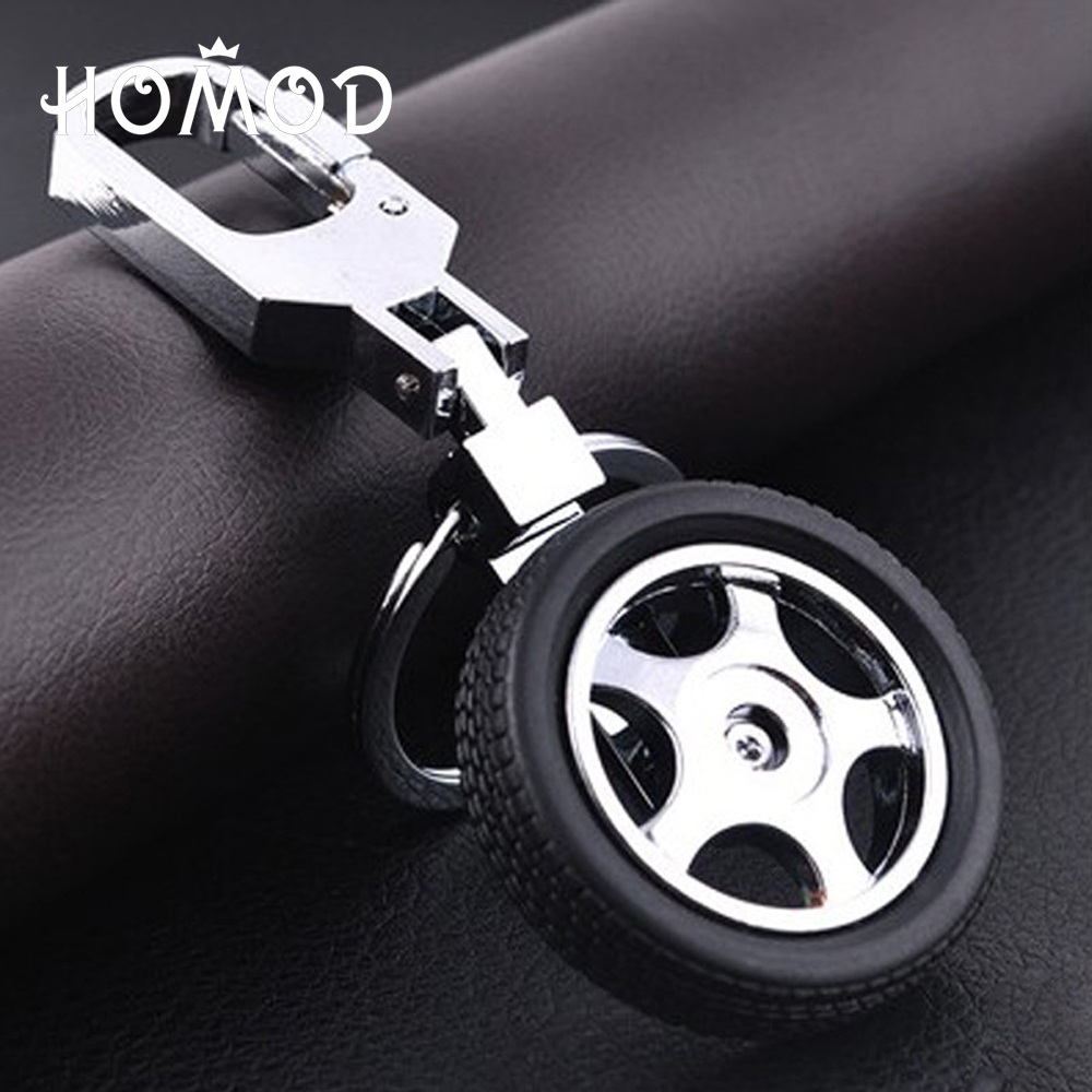 HOMOD Wheel Rim Model Keychain High Quality Car Key Chain Llaveros Hombre Can be rotated Metal Key Ring Cool Gift for Man