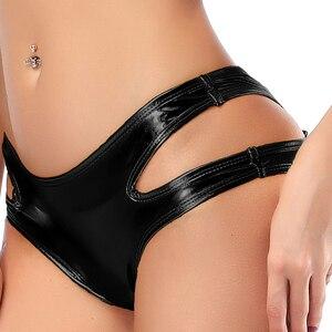 Image 2 - Kẹo Màu PU Bằng Sáng Chế Da Nóng Nữ Rỗng Ra Boxer Lấp Lánh Cực Vũ Quần Short Nam Quần Lót Sexy Eo Thấp Ngắn quần Dài