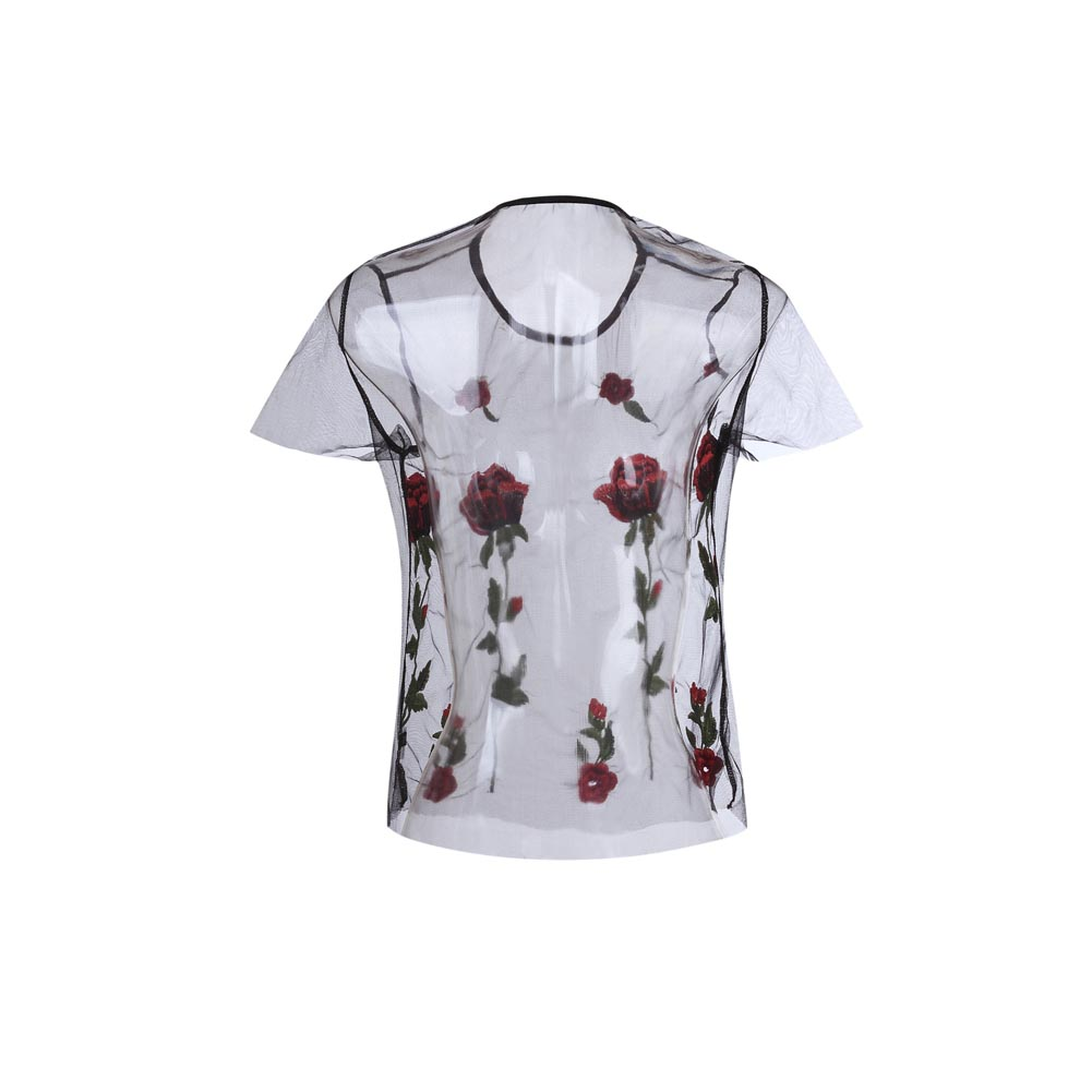 HTB1zRRyRXXXXXXUapXXq6xXFXXXB - FREE SHIPPING  New Women Summer Black Embroidered Rose Applique Sheer Mesh JKP338