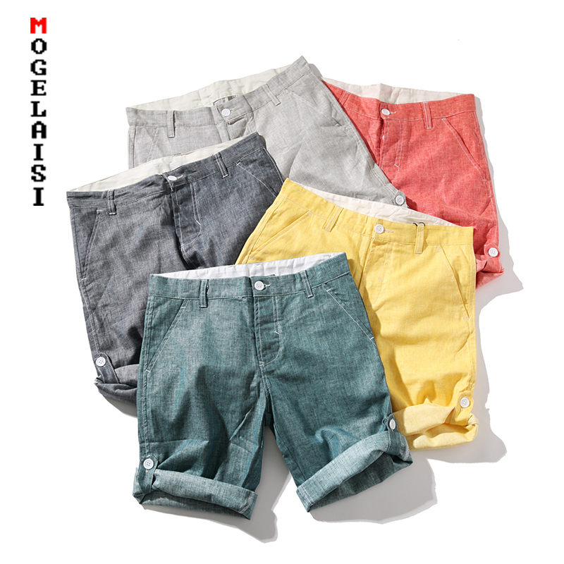 New 2019 Linen Cotton Shorts Men Solid Button Waist Casual Shorts Summer Comfortable Bermuda Shorts Men QT3023-K15