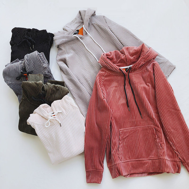 2018 New Autumn Winter Fashion Warm Thick Velour Sweatshirts Women Vintage Striped Pullovers Coat Loose Hooded Tops Famale Mw510