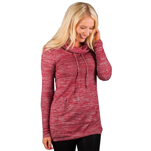 Mulheres Moda Inverno Hoodies de Algodão Com Capuz Longo Pulôver de Gola Alta Manga Longa Camisetas Para Mulheres Tamanhos Grandes S278