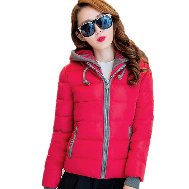 NEW Fashion Women Winter Cotton Jacket Plus Size Thicken Super Warm Coats Hooded Jacket Splicing Slim padded Coat   Parka   FC2456
