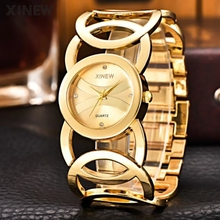XINEW TOP Brand Luxury Gold Watches Women Quartz Wristwatches Ladies Full Steel Bracelet Watch Feminino Relojes Circles Strap