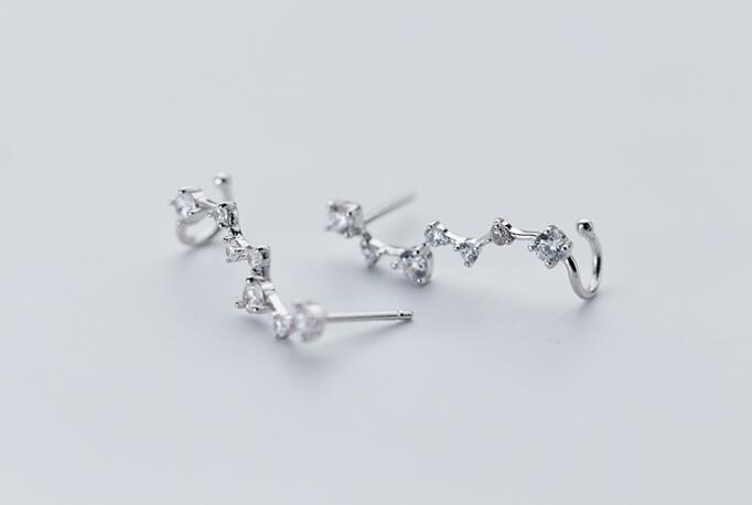 1pair 100% Real. 925 Sterling Silver Fine Jewelry pRONG cz stone Climber Cuff Clip earrings new (NO pierced) gtle1936