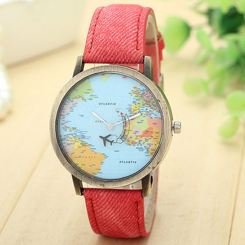 Splendid promote New color blue Global Travel By Plane Map Women Dress Watch Denim Fabric Band image