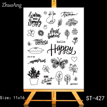 ZhuoAng Happy plants Transparent and Clear Stamp DIY Scrapbooking Album Card Making Decoration