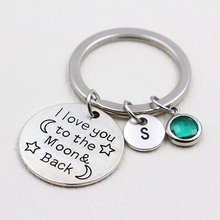 Eu te amo para a lua e para trás/de aniversário chaveiro/a para z letras chaveiro/irmã presente/presente da namorada