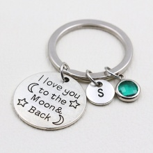 I Love You to the Moon and Back/Birthstone Keychain/Personal
