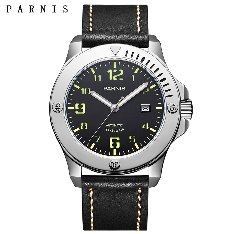43.5mm Parnis Men Watch Luxury Brand Mechanical Watch 21 Jewels Movement Luminous Military Automatic Wristwatches Watch Men