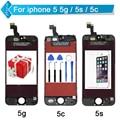 Для iPhone 5S 5C 5 ЖК-Экран Сенсорный Дигитайзер Дисплей ассамблеи Repalcement Черный Белый + Инструменты + Закаленное Стекло Бесплатно доставка