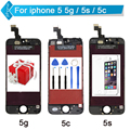 For iPhone 5S 5C 5 LCD Screen Touch Digitizer Display Assembly Repalcement Black White + Tools + Tempered Glass Free Shipping