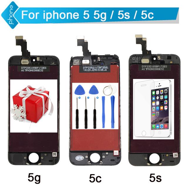 Para iphone 5s 5c 5 display lcd touch screen digitador assembléia Repalcement Branco Preto + Ferramentas + Vidro Temperado Livre grátis