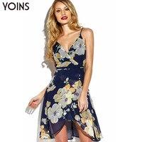 YOINS חדש 2017 נשים אופנה פרחונית הדפסת שיפון ללא משענת כתף את סקסי Cami שמלה מול לעטוף מזדמן שמלה סימטרית