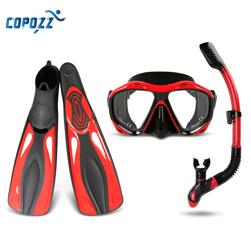 Copozz Brand Professional Snorkels Scuba Diving Mask Goggles Glasses Diving Swimming Fins Flippers Set brand professional swiming diving mask set silicone diving mask dry vent pipe breathing tube diving fins frogs