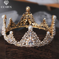 CC wedding jewelry crown tiara hairbands baroque fresh water pearl engagement hair accessories for bride queen party round xy382