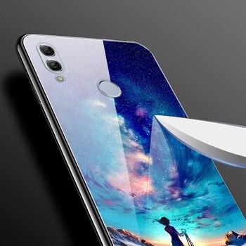 For Huawei Honor 10 Lite Case Cute Pattern Glass Back Hard Cover Case For Huawei Honor 10 Lite Phone Bumper Housing Funda light 1