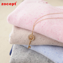 zocept 2017 Autumn Winter Pure Cashmere O-Neck Pullovers Women Color Cashmere Yarn Knitted Casual Sweater High-Quality Clothing