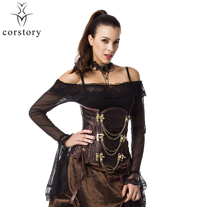 Corstory Retro Brown&Black Brocade Steel Boned Steampunk Underbust Corset Waist Trainer Gothic Corsets And Bustiers