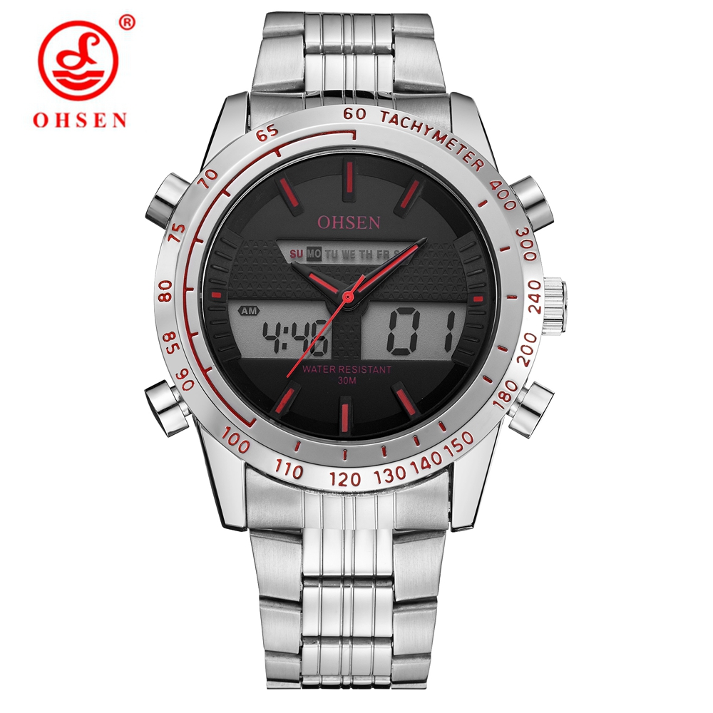 Top Sale Fashion OHSEN Brand Sports Digital Quartz Wristwatch Military Dual Time Watch Men Waterproof Man