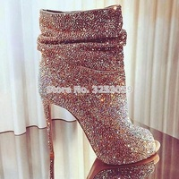Eye sighted Women Bling Bling Crystal Short Boots Open Toe Stiletto Heels Ankle Boots Shining Diamond Dress Pumps Bridal Shoes