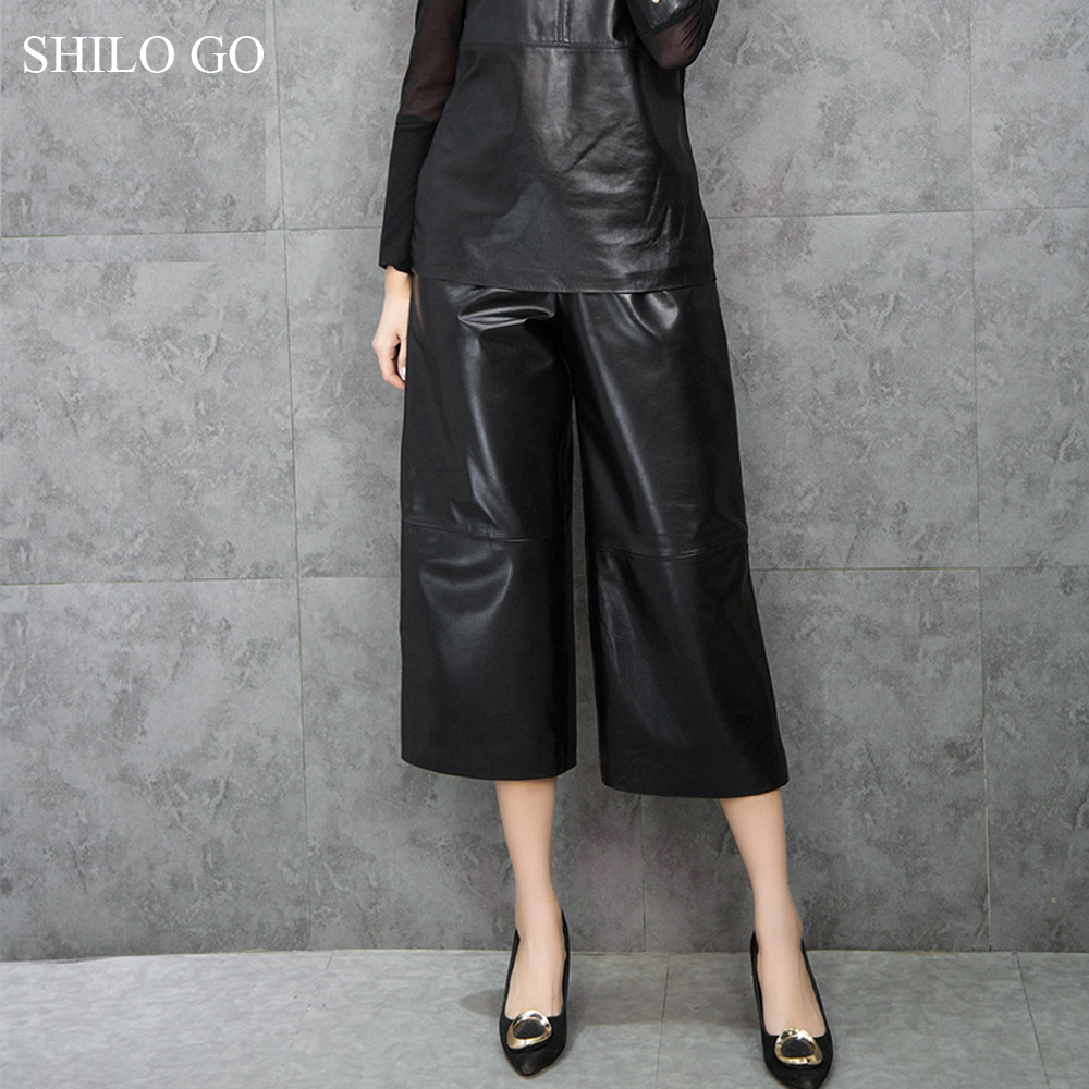 SHILO GO Leather Pants Womens Winter Fashion sheepskin genuine leather Pants office OL stretch high waist concise wide leg pants