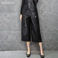 SHILO GO Leather Pants Womens Winter Fashion sheepskin genuine leather Pants office OL stretch high waist concise wide leg pants