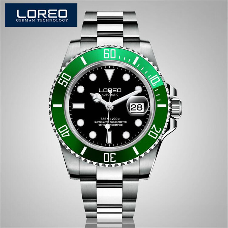LOREO Germany Watches Men Luxury Automatic Self-Wind Luminous Waterproof 200M Oyster Perpetual Diver Relogio Masculino AB2114 форма для выпечки maxwell mlf 508