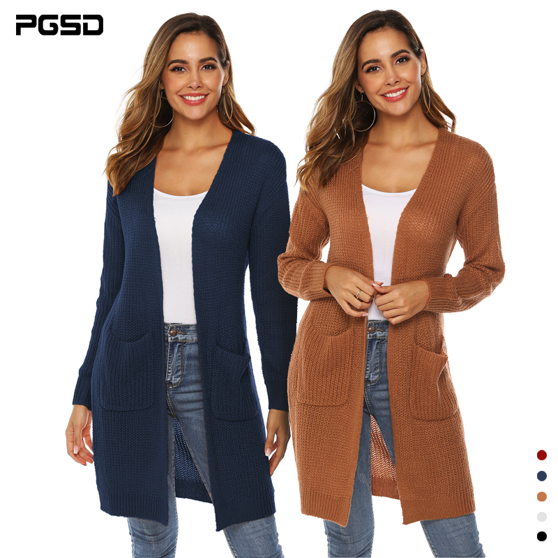 PGSD Autumn Winter Solid Colored Big Pocket Thickened Sweater Female Mid-long Loose Long Sleeves Knitted Cardigan Women Clothes