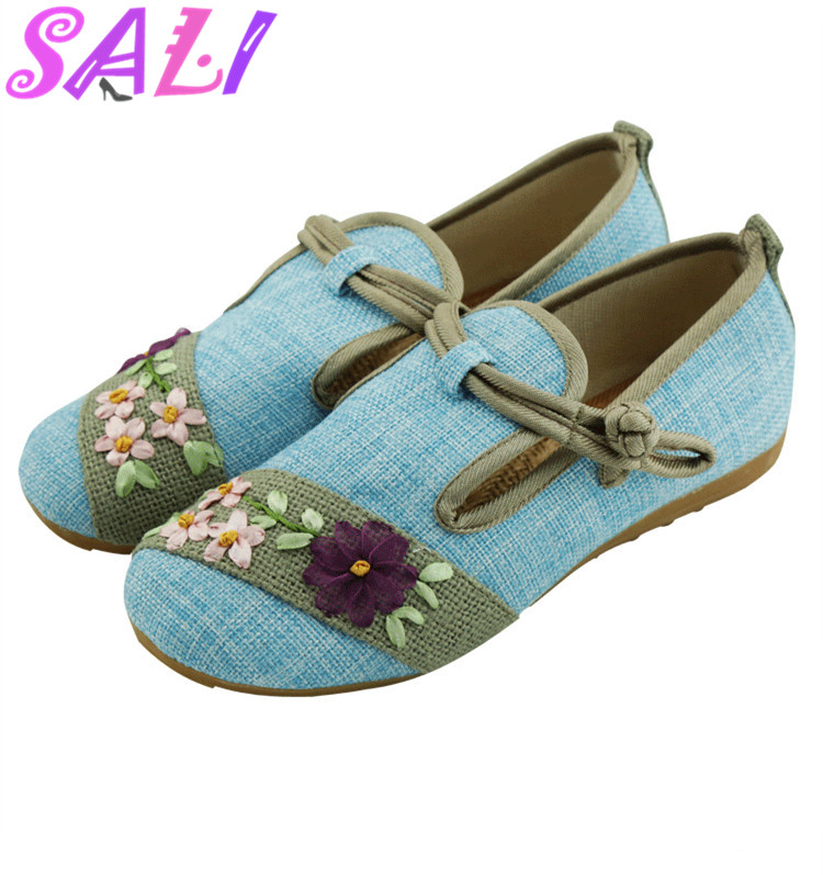 15 colors new Chinese wind handmade cloth buckle embroidered linen breathable Peas shoes women flat shoes for Women