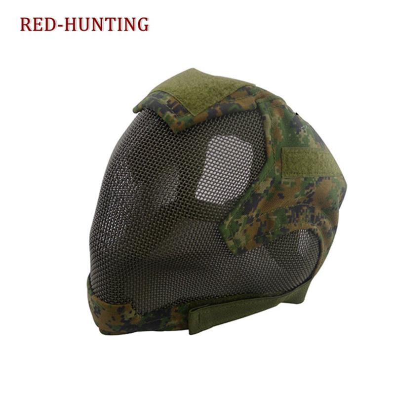 For Hunting Shooting Tactical Airsoft Full Face Mask Safety Metal Mesh Protection Gear