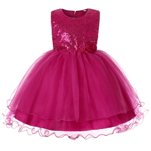 baby girl summer clothes Sleeveless Sequins Birthday party Stage performance Flower tutu Vest dress girl princess dress beautiful carnation flower vest dress runway vintage key dress vestidos infantis baby girl clothes 8002
