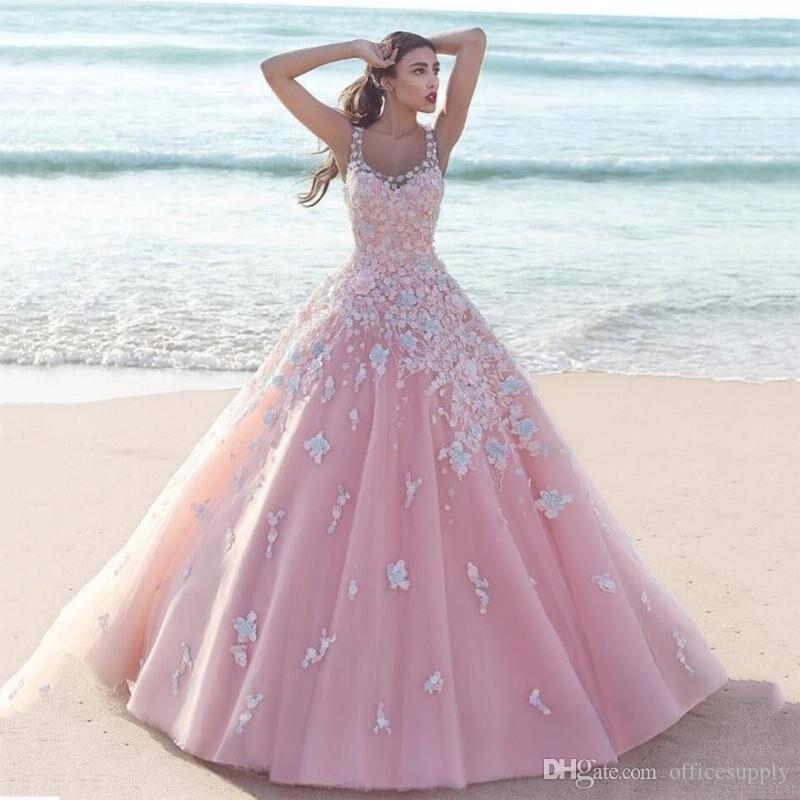Саудовская Арабский Розовые Свадебные платья с цветами Паффи Scoop шеи тюль платья этаж Длина Свадебная вечеринка платье