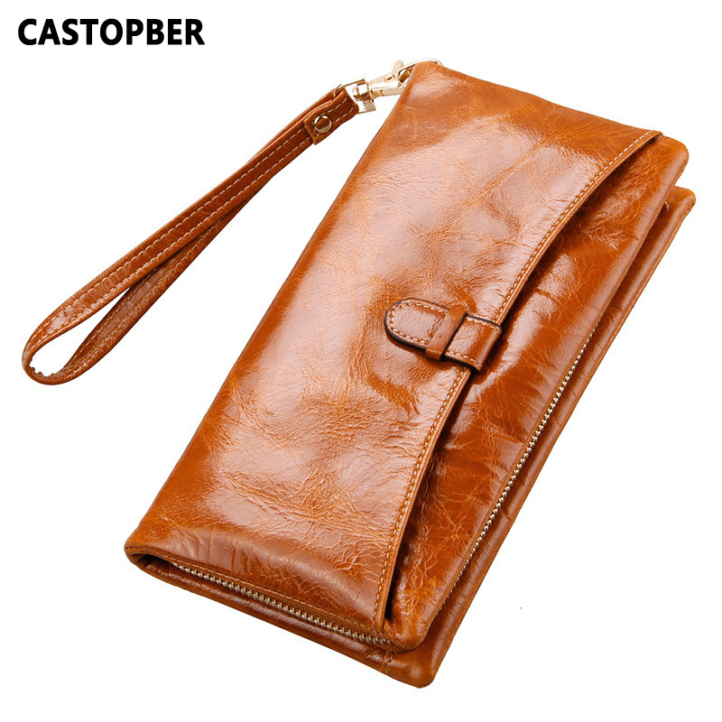 New Designer Women Oil Wax Cowhide Genuine Leather Long Wallet Zipper Purse Brand Womens Organizer Clutch Wallets Vintage Female dollar price new european and american ultra thin leather purse large zip clutch oil wax leather wallet portefeuille femme cuir