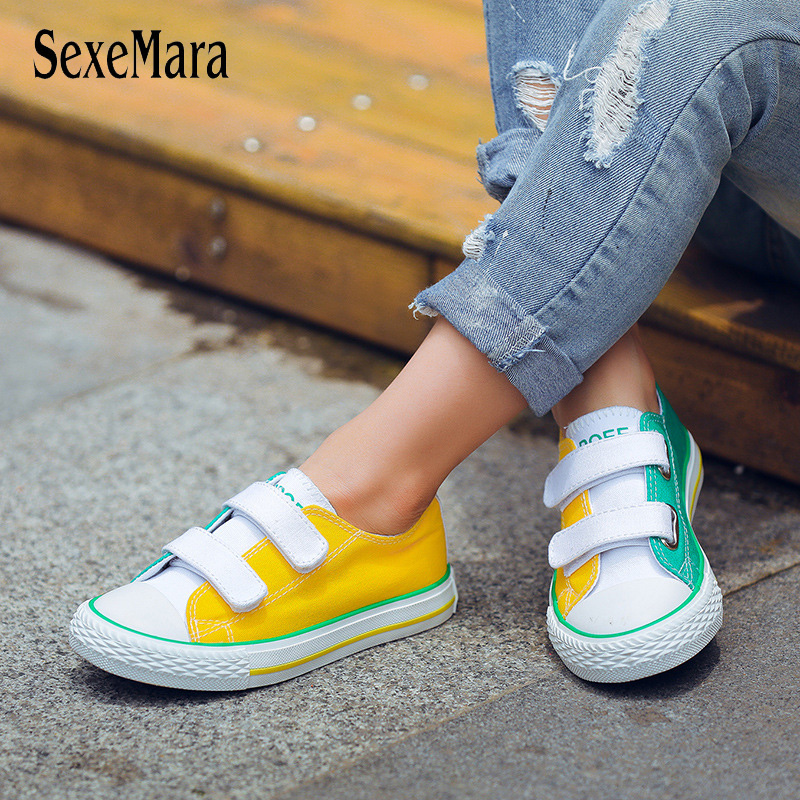 Fashion Canvas Shoes Children Colorful 2018 Student School Outdoor Shoes Boys Flat Heel Kids Shoes for Girl 25-38 Sneaker B04232