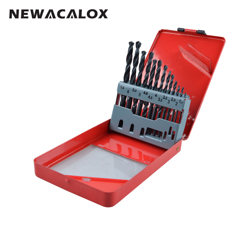 NEWACALOX High Speed Steel HSS Drill Bit Set Round Shank Black Oxide 1.5-6.5mm Tungsten Carbide Twist Drill Bits 13pcs/set
