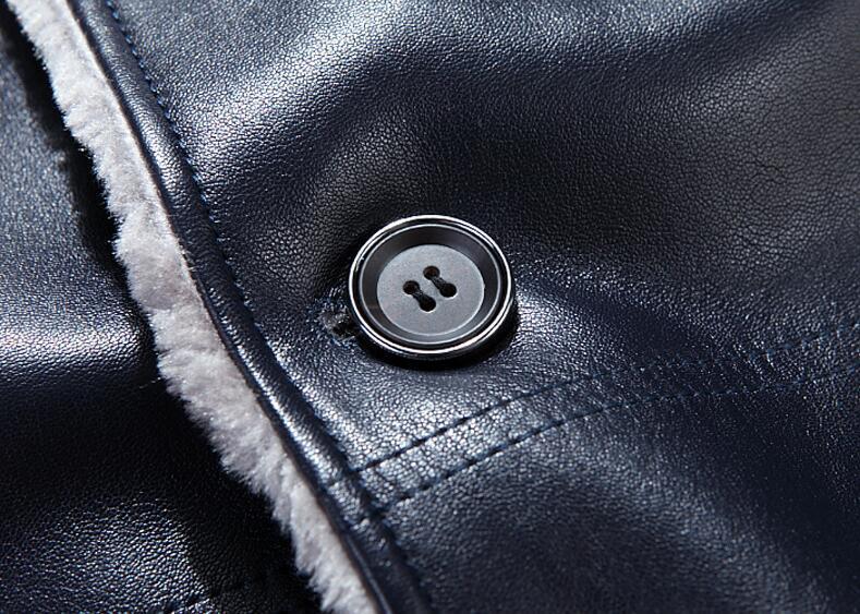 2017 new winter blazer fur collar men fur coat mens business casual leather jacket fleece warm thick overcoat