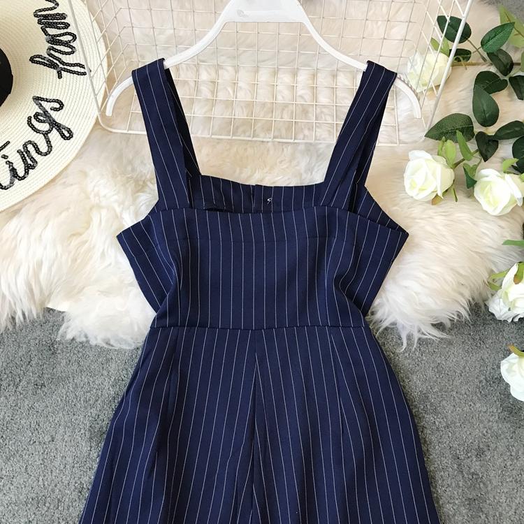 2019 Spring and Summer Korean New Stripe High Waist Open-back Jumpsuit Women Sleeveless Broad-legged Overalls G794 28