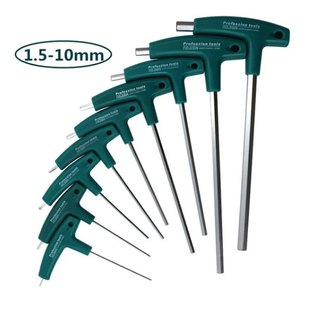 New Arrival T Type Hex Key Allen Wrench Set With Handle Ball For Bike Car Tool Drop Shipping