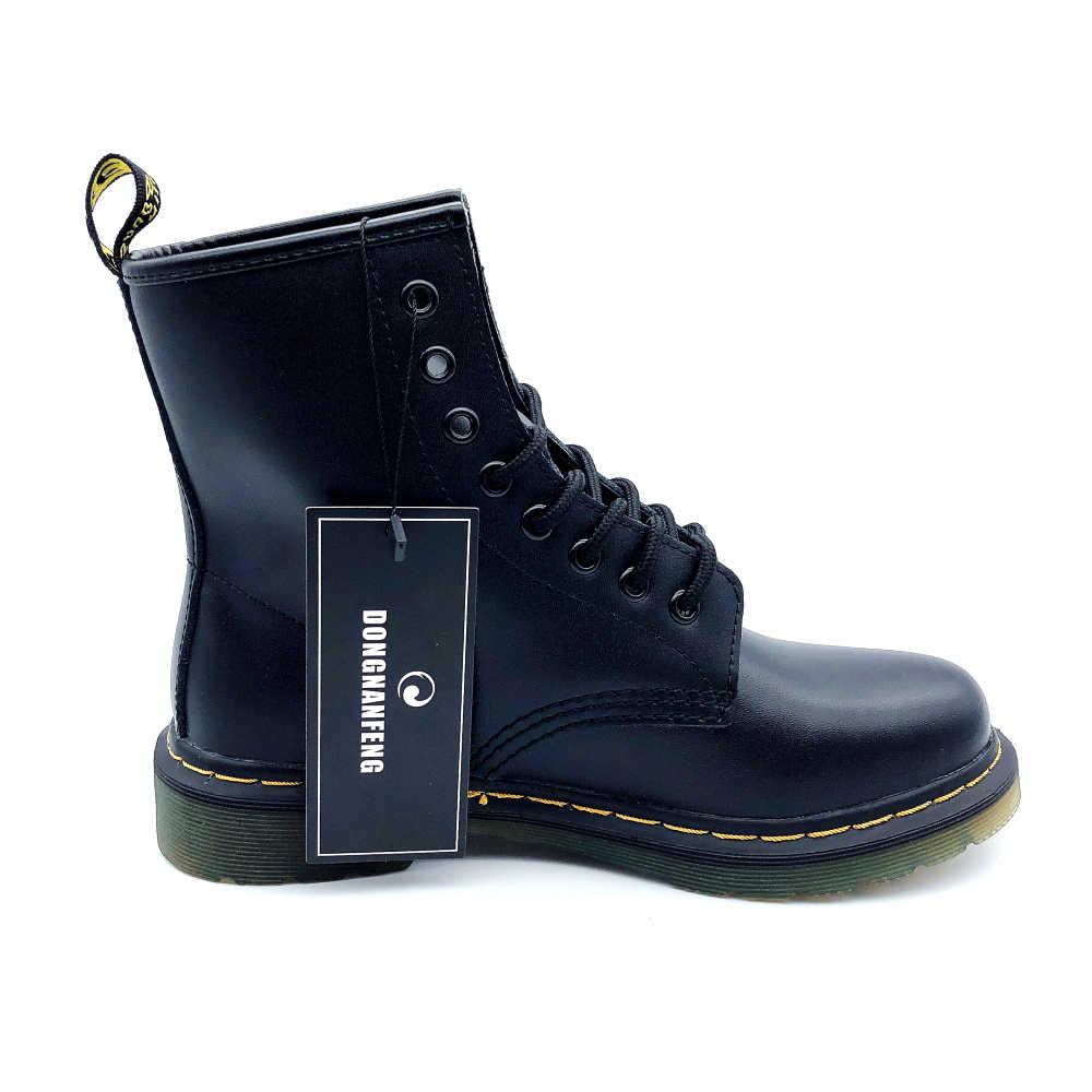 DONGNANFENG kadın kadın bayanlar kadın yarım çizmeler ayakkabı kış bahar inek hakiki deri bağcıklı ayakkabı Punk Plus kürk sıcak rahat sürme equestr Botas Mujer artı boyutu 43 44 YDL-666
