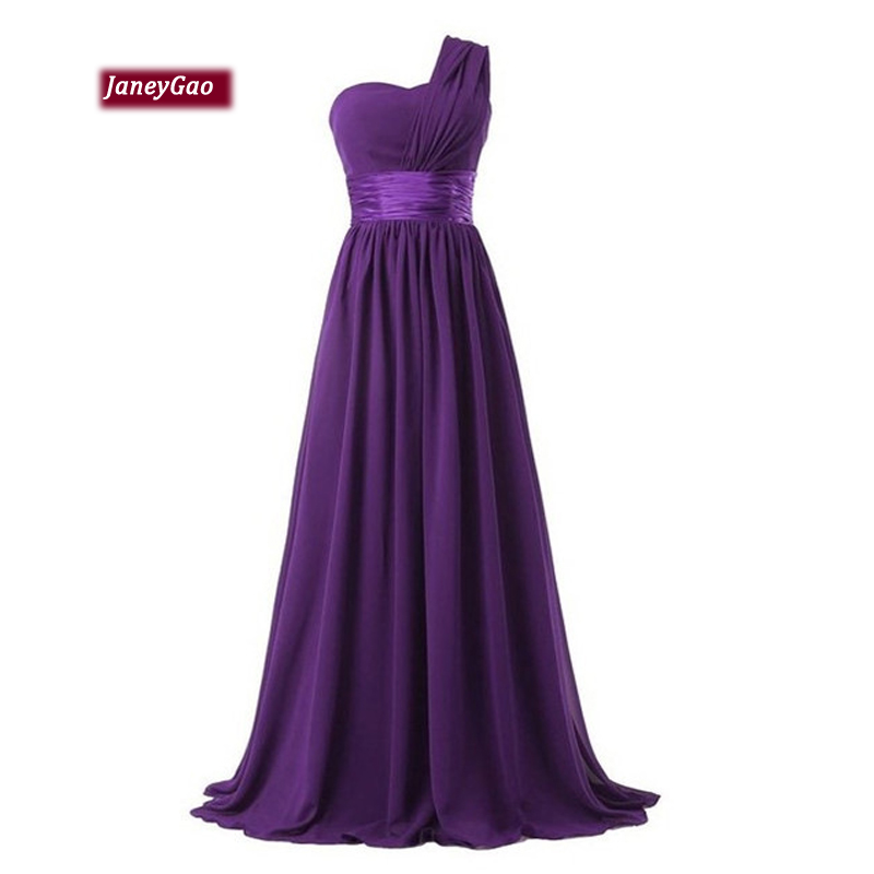 JaneyGao Bridesmaid Dresses For Wedding Party Elegant One Shoulder Chiffon Dress For Women Formal Gown Floor