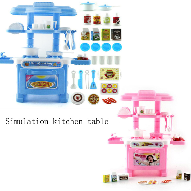 New simulation of childrens kitchen dining table toys kids playing pretend kitchen toys